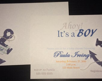 Anchor Boy Baby Shower Invitations + Thank You Postcards