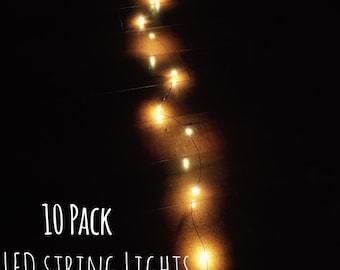 10 bundled String Lights | Mason Jar Lights | Firefly Lights | Wedding Lights | Rustic Lighting | LED Lights | Decorative Lights