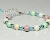 Сrystals bracelet | Gift|for her | Womens bracelet | Beige, lime, white  and rosybrown bracelet for her - Сolorful bracelet