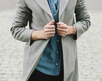 Grey coat, Spring coat, Autumn coat, Woman coat, Wool coat