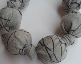 Great lightweight chain made of fabric, grey with fine silver lines