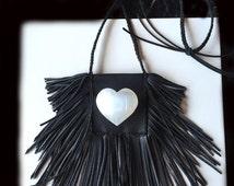 Medicine Bag Necklace, Black Leather Fringe, Double Fringe, Shaman Bag, Fringed Leather Crystal Pouch Necklace, Crystal Pouch Necklace,