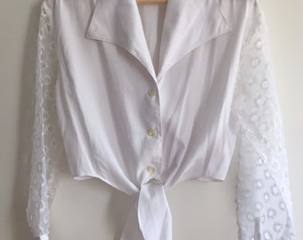 90's tie up blouse with sheer organza sleeves
