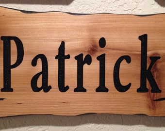 Custom wooden hand carved name sign