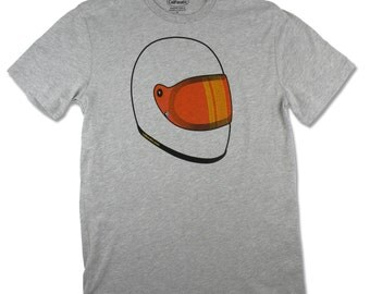 Men's Skid Lid motorcycle helmet T-shirt in orange and gold, made in California and screen printed with water based ink.