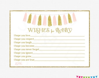 Wishes for Baby Pink Gold Baby Shower, Girl Baby Shower, Wishes for Baby Sign, Wishes for Baby Cards, Well Wishes, Invitation Insert, TASPG
