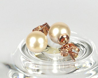 Gold Pink Pearl Post Earrings, 7mm Shell Pearl Earrings, Made in Italy Sterling 925, Rose Gold Plated Silver Stud Earrings, Gift For Her