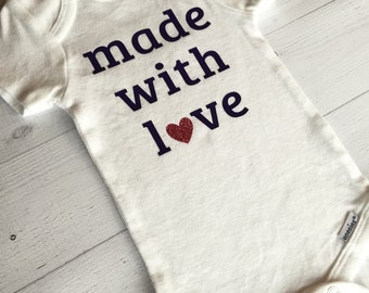 Made With Love Bodysuit, Personalized, Baby Boy/Girl Shirt