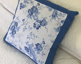 """Bellini Blue Birds and Floral on Hessian - Cushion Cover - 45 x 45cm (18 x 18"""") - Textured"""