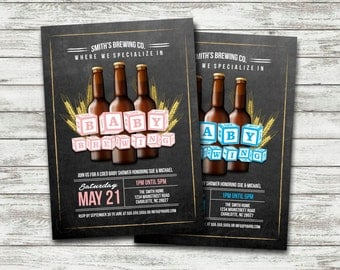 Beer Baby Shower Invitation / Baby Brewing Shower Invitation / Baby is Brewing / Chalkboard Beer Invitation / Coed Baby Shower - PRINTABLE
