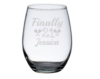 Finally 21 Wine Glass, 21st Birthday Gift for Her, 21st Birthday Wine Glass, Womans 21st, 1996 Birthday, 21 Birthday for Her