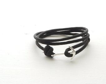Anchor Bracelet - Black Rope Bracelet - Womens Paracord Bracelet - Mens Nautical Anchor Bracelet - Silver Anchor Black Paracord