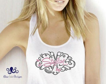 Stylist Tank, Hair Stylist Tank, Rhinestone Hairstylist Tank, Stylist Bling, Hairstylist Bling