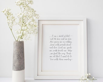 I am a child of God, 8x10 Printable wall art, Typography, Calligraphy, Instant Download