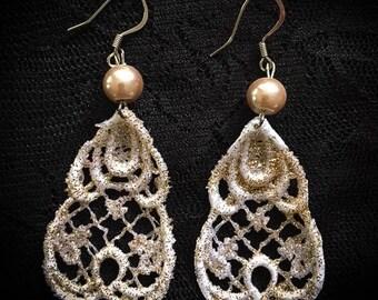 Golden Elegance Lace Earrings
