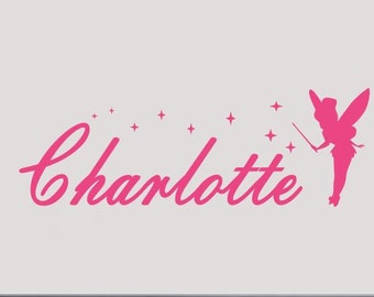Tinkerbell personalized name wall decal
