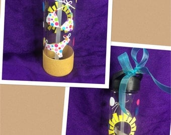 Beach - Flip Flop or Bikini - Personalized sand water bottle with straw