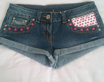 Studded shorts with fabric