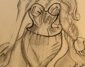Original pencil drawing of figurative female.