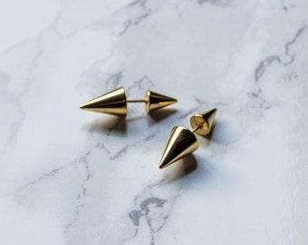Gold Spike Earrings / front back earring / ear jackets / ear jacket earrings / ear jacket