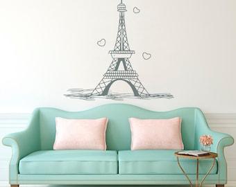 Eiffel Tower Wall Decal Paris Silhouette Vinyl Stickers Decals Art Home  Decor Mural Vinyl Lettering Wall Part 67