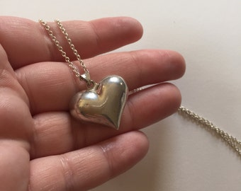 Vintage Puffy Heart 925 Sterling Silver Pendant Necklace
