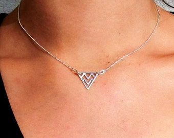 Dainty Triangle necklace- Geometric sterling silver necklace