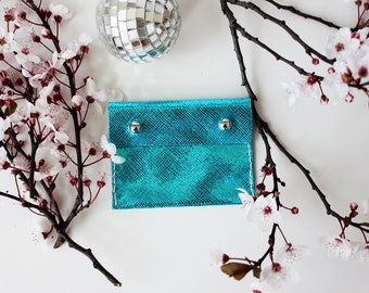 SALE! Metallic Electric Blue Pouch Purse Made From Italian Leather