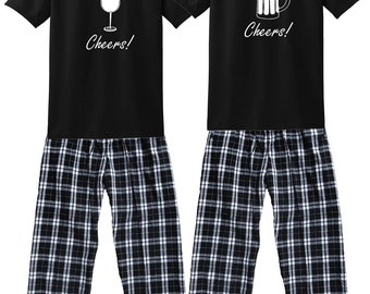 Beer Mug and Wine Glass Cheers! Matching Pajamas for Couples  - FREE Shipping, Each Shirt-Pant Set SOLD SEPARATELY (340)