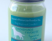Scented Candle, Peppermint and Eucalyptus Soy Candle: Dachshunds Favorite Soy Candle 16oz Jar Dog Lover Gift, Gift for Her, Gift for Him