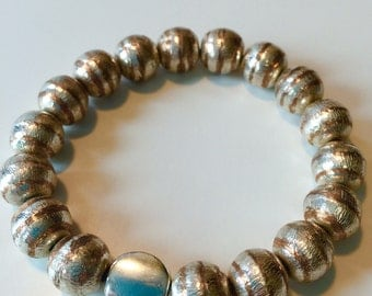 Beaded Copper and Silver Stretch Band: Band of Friendship