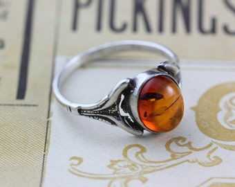 Victorian Amber Resin Ring Sterling Silver - Vintage Ring 925 - Size 6