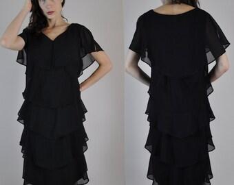 Black chiffon dress | Etsy