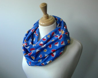 Blue Infinity Scarf with Flowers