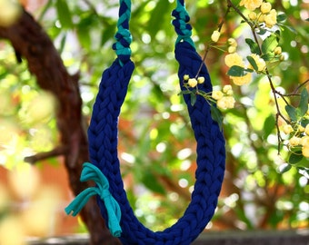 Green and blue statement necklace - braided textile yarn