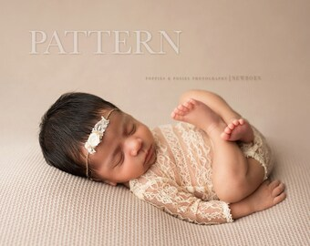 NEWBORN ROMPER PATTERN - Sewing Pattern,  Adelynn Long Sleeve Romper | Newborn Photography Prop Pattern