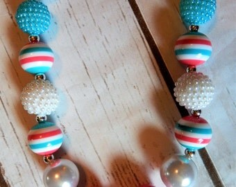 La La Loopsy inspired pink and teal Chunkybeaded bubblegum Necklace N014
