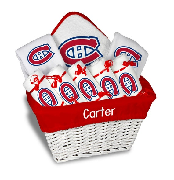 Baby Gift Baskets Montreal : Personalized montreal canadiens baby gift basket bibs