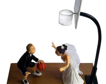 Personalized Handmade Wedding Cake Topper, Customized Bride & Groom playing basketball