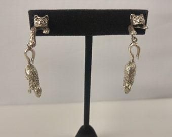 Sterling cat & mouse earrings