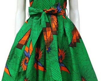 Dashiki ankara wax African print knee length flare dress with belt