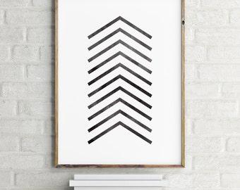 Chevron Print / Instant Download / Printable Art / Minimalist Art / Black and White Art Print / Digital Art Print