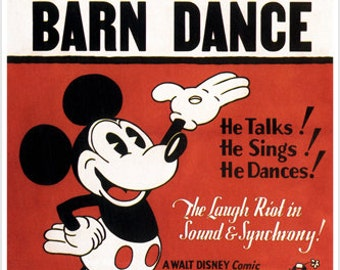 Walt Disney's The barn dance MOVIE POSTER by Ub Iwerks 1929 24X36 CARTOON
