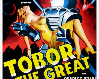 VINTAGE Tobor The Great Movie Poster Big Robot Hero Action Damsel In Distress 24x36