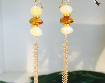 Baltic Amber Tassle Earings with Gold Filled Earwires