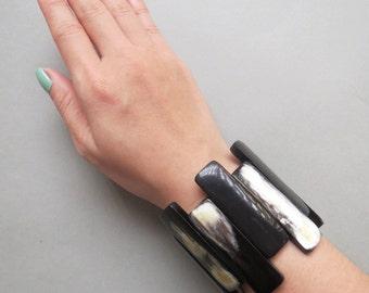 """Black Stretch Bracelet, Stretchy Bracelet, Wide Bracelet, Elastic Bracelet, Stretch Bracelet, Black Bracelet, Thick Bracelet, 2.36"""" width"""