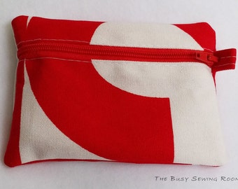 Red & White Wallet, Coin Purse, Zipper Pouch, Abstract Print