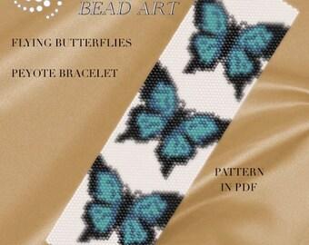 Pattern, peyote bracelet - Blue flying butterflies peyote bracelet pattern in PDF - instant download