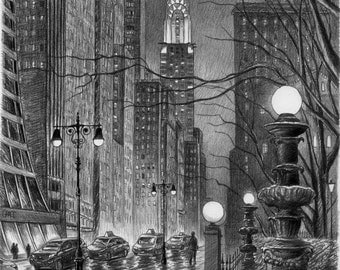 NYC Chrysler Building Bryant Park Hand sketched Print - Black and White Sketches.