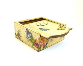 Jewelry box wooden Bohemian jewelry box Personalized jewelry box, Women gift for her, Keepsake box colorful flowers, Boho chic set